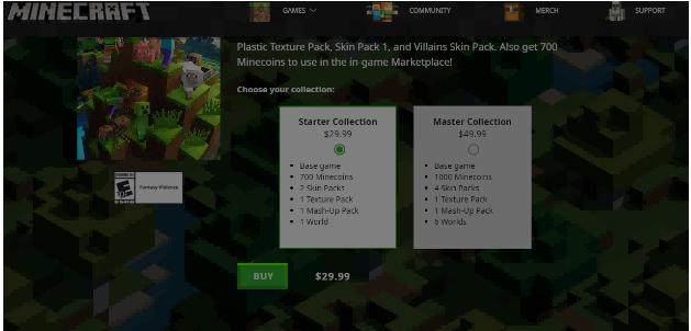 minecraft specific page
