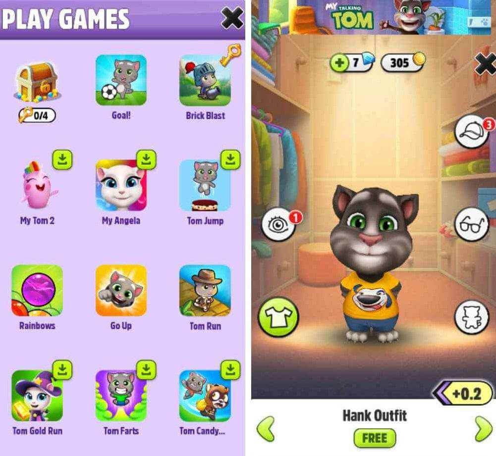 mini games in talking tom