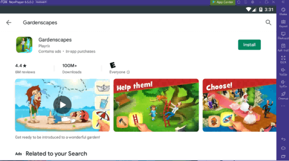 search for gardenscapes on noxplayer