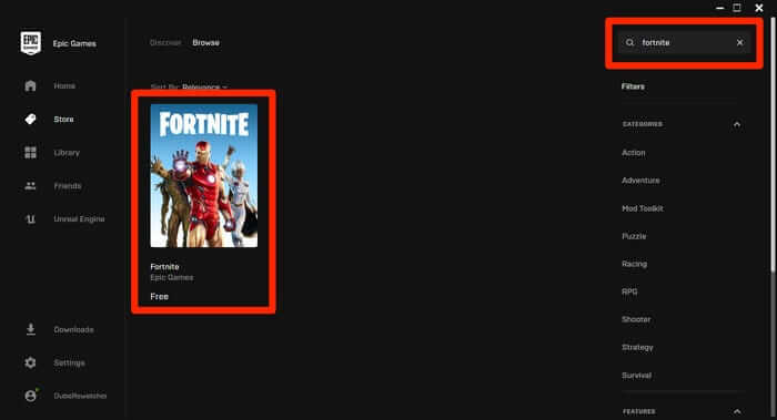 search and find Fortnite