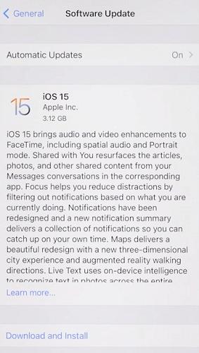 update ios 15