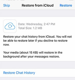 restore whatsapp from icloud