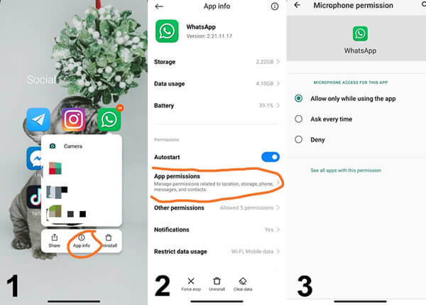 turn on whatsapp mircrophone on android