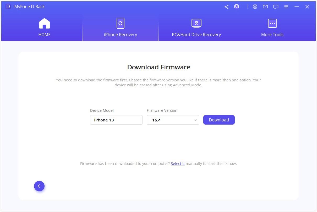 download firmware advanced