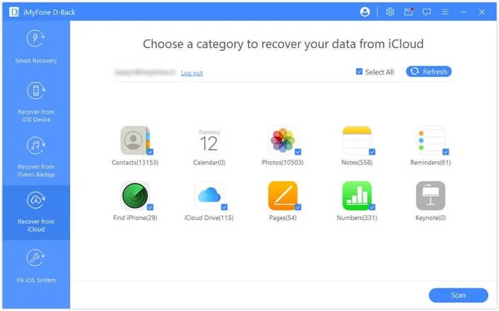 select types of data from icloud account