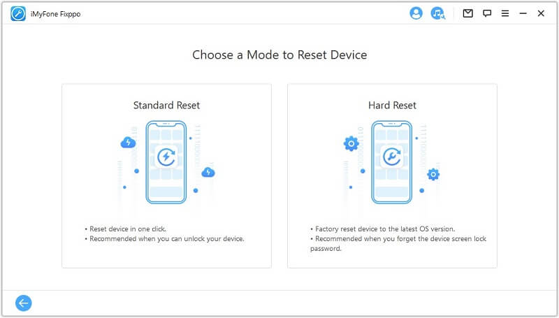 choose a mode to reset device