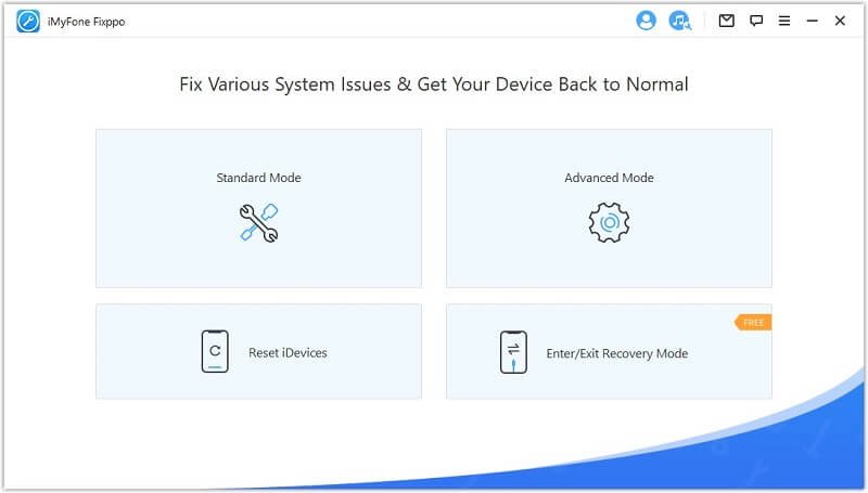 interface of iMyFone Fixppo iOS system recovery