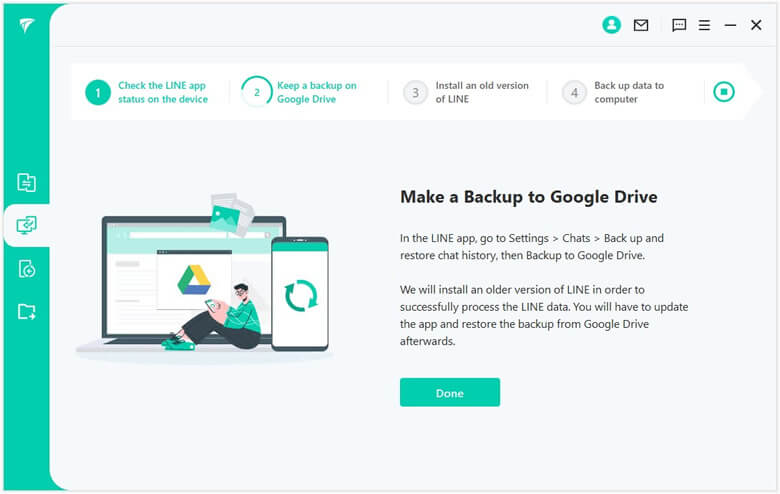 backup android line data to google drive