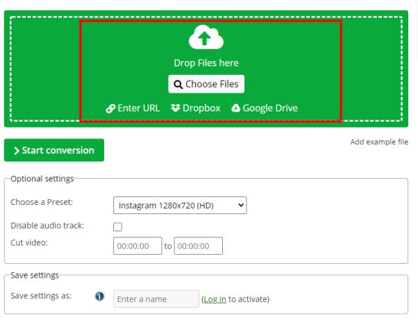 drop files on online converter