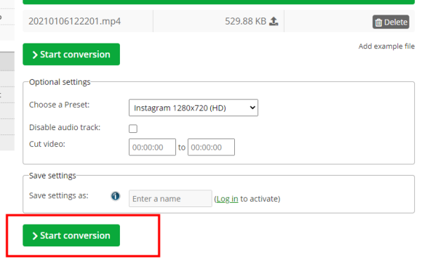 start convrtion on online converter