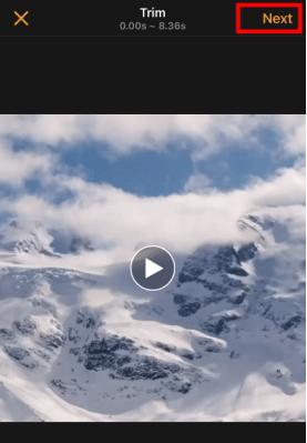 trim video and click next