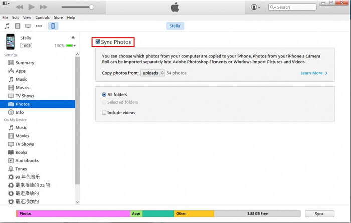 Sync by iTunes