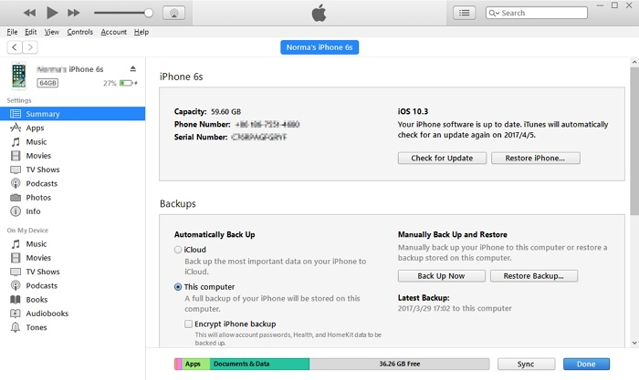 restore data with iTunes