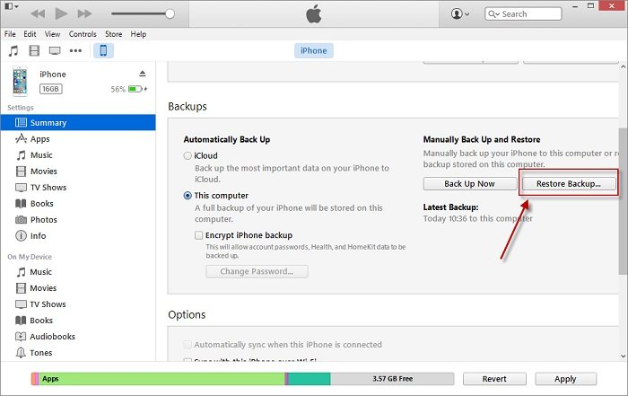Undelete iPhone files with iTunes backup