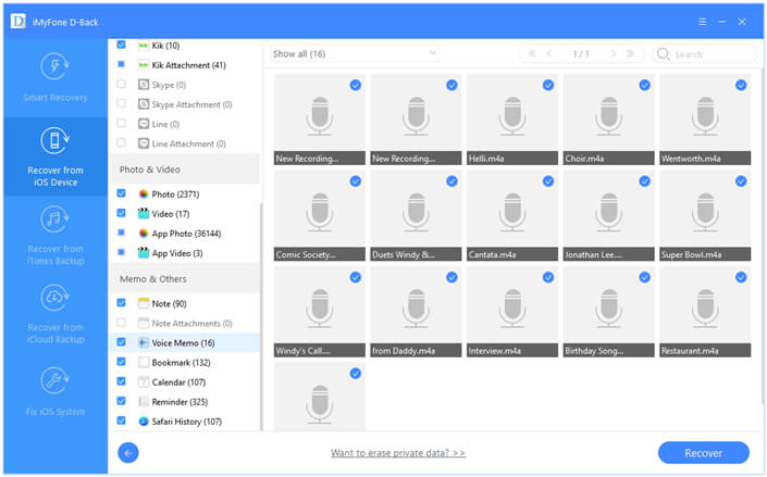 preview the recoverable voice memos