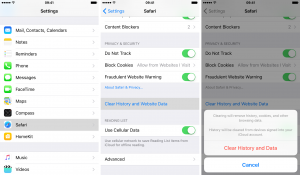 iOS9 Safari clear history and browsing data iPhone
