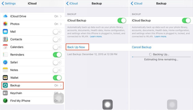 use iCloud to back up iOS data