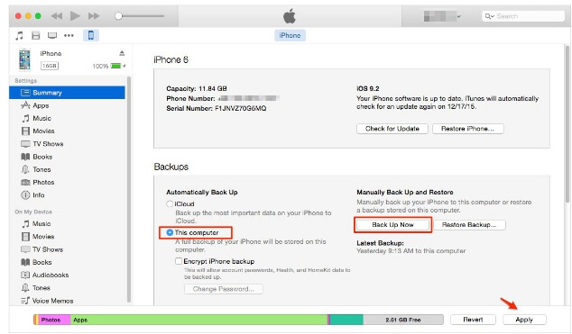 Backup iMessages on iPhone with iTunes