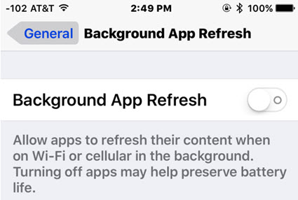 disable background app