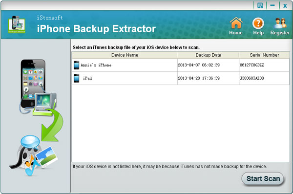 iStonsoft iPhone Backup Extractor to recover deleted files from iPhone