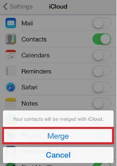 merge iCloud contacts with iPhone