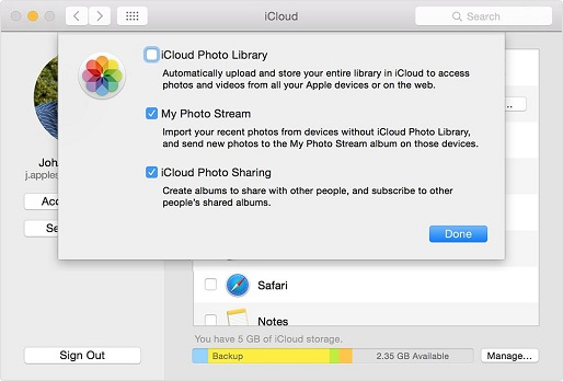 "select ""My Photo Stream"" on your Mac"