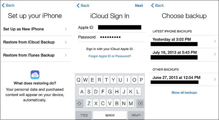 restore from an iTunes or iCloud backup file