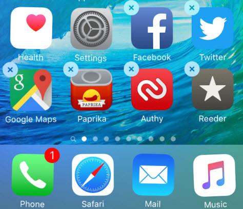 delete icones iPad