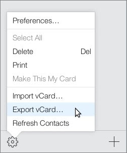 Export vCard File From iCoud.com