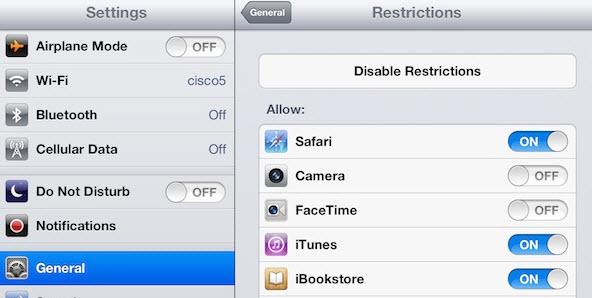 iPad setting