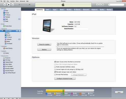 reformat iPad with iTunes