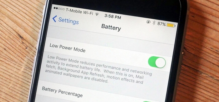 low power mode on iPhone