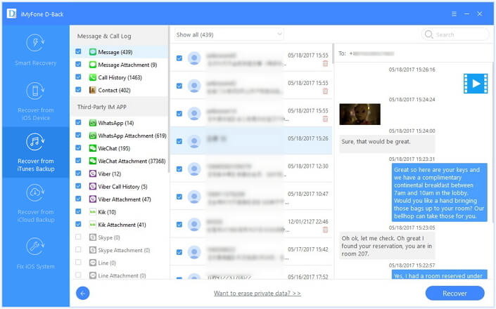 Preview and restore messages from iTunes Backup