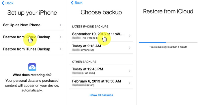 Recover text messages by restoring iCloud backup