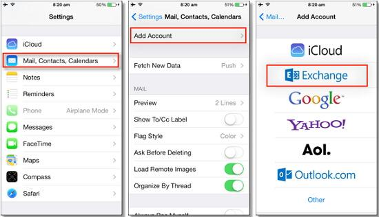 backup iphone contacts to exchange