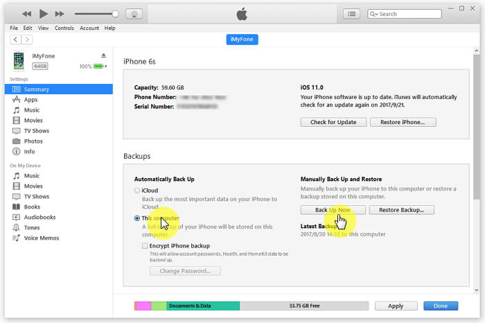 Backup notes on iPhone using itunes