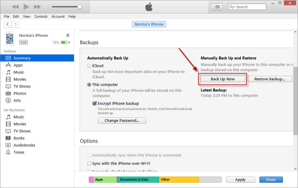 Backing up iphone to itunes on windows