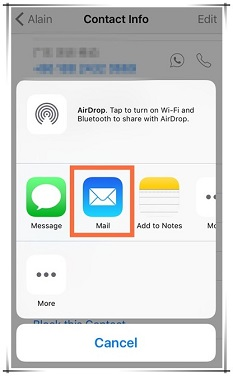 Tap the mail icon