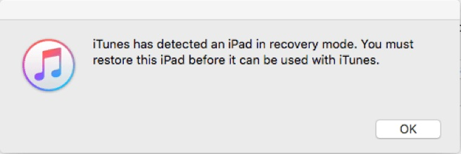 iTunes has detected iPad in recovery mode