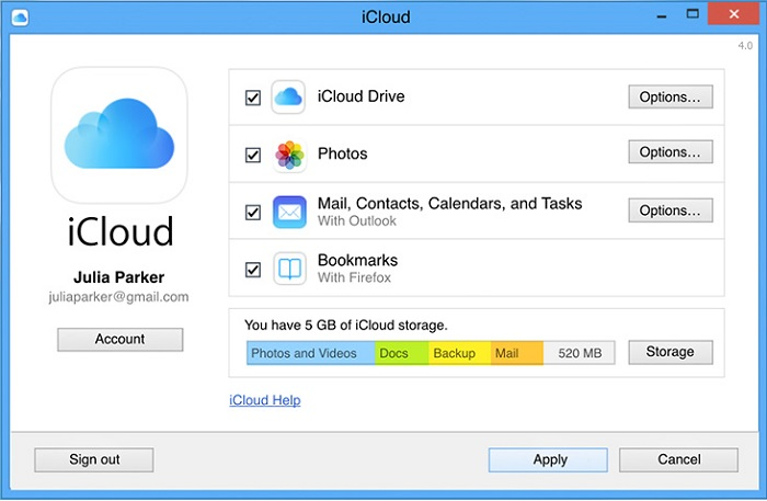 Download iCloud Backup to PC using iCloud Control Panel