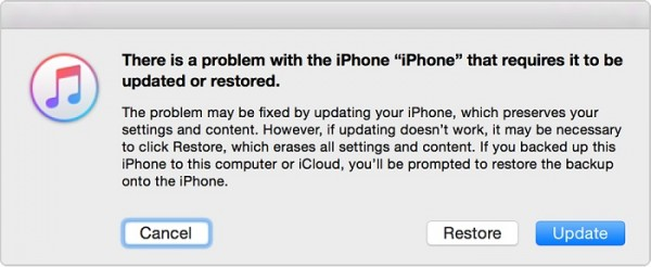 iphone recovery mode itunes notice