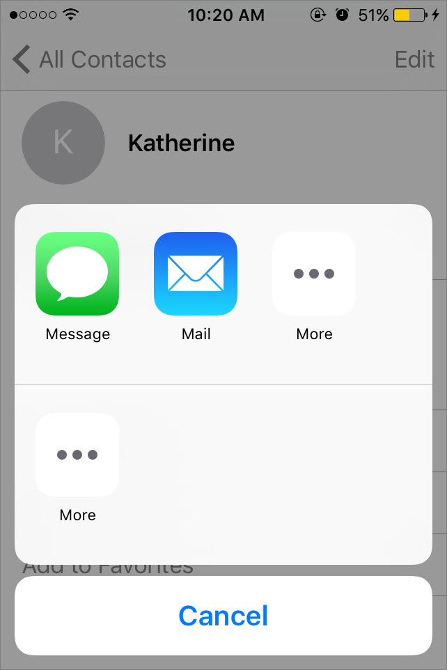 send contacts by email