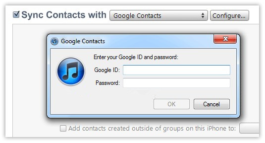 sync contatcs with gmail