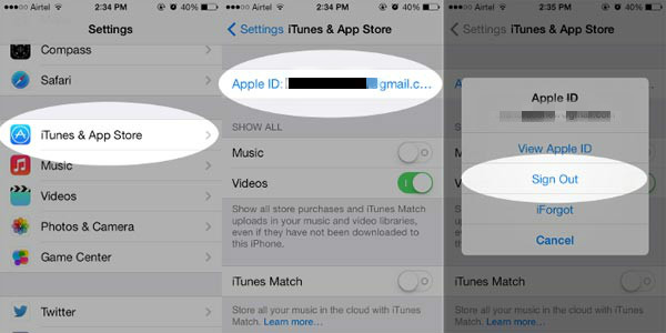 Change Apple ID on Apple Store