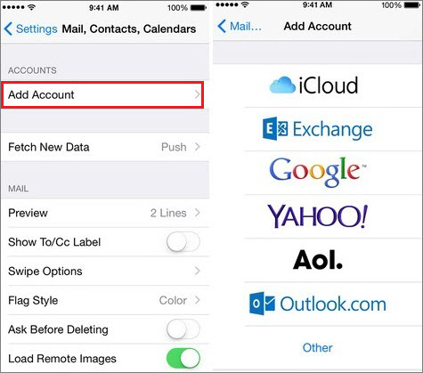 add email account on iphone