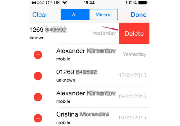delete call history iphone