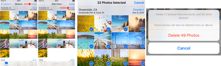 delete camera roll iphone