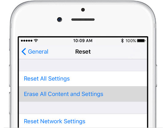 erase all content and settings iphone