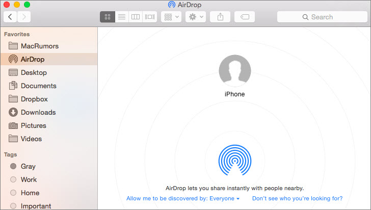 import contacts from iphone to mac using airdrop