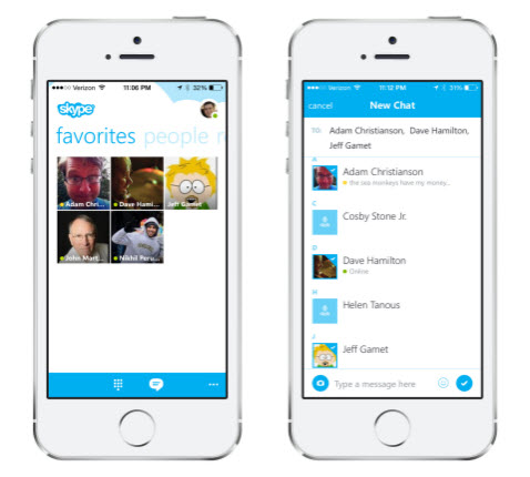 skype contact iphone